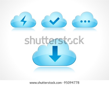 Vector colorful down load cloud with different symbols - stock vector