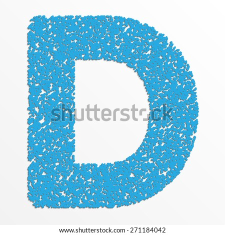 Vector colorful English or Latin alphabet items with grain texture, letter D