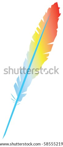 vector colorful feather - stock vector