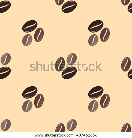 vector colorful flat design various brown coffee beans deco seamless pattern beige background
