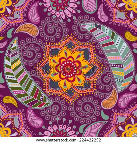 Vector colorful flower pattern. Floral background - stock vector