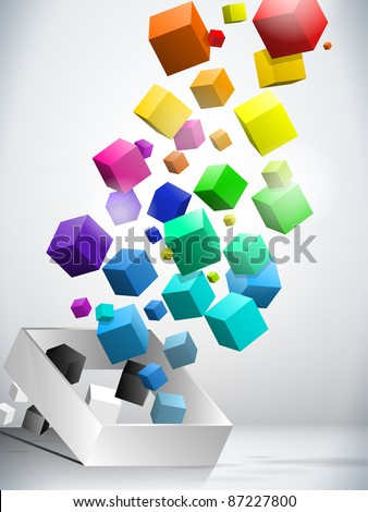 Vector - Colorful Flying Cubes Background - stock vector