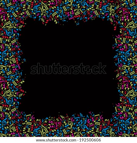 Vector colorful framing with bright musical notes on a black background.