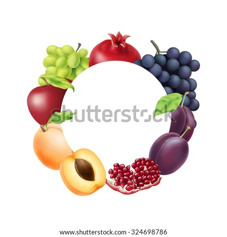 Vector colorful fruit circle banner with copy space. EPS 10 illustration for food design - stock vector