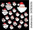 VECTOR Colorful Funny Santa Claus Head Set - stock vector