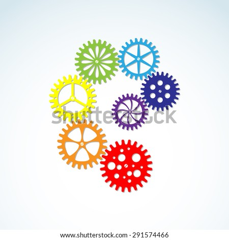 Vector colorful gears for industrial and machinery design.