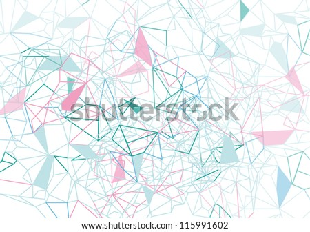 Vector Colorful Geometric Abstract Background with Crossing Triangles and Polygons - stock vector