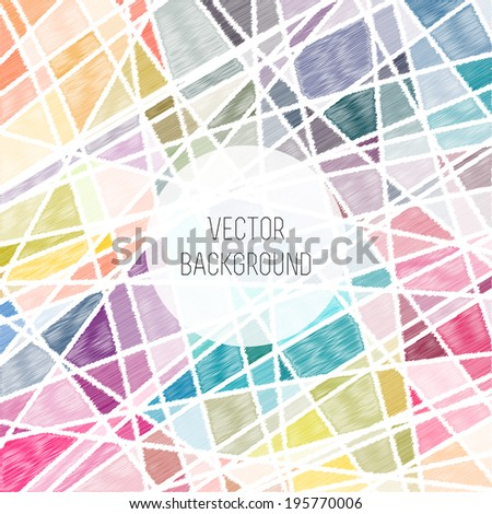 Vector colorful geometric background. Pencil lines - stock vector