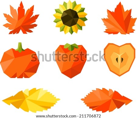 Vector colorful geometric set of autumn leaves - stock vector