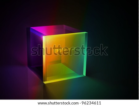 vector colorful glass cube - stock vector