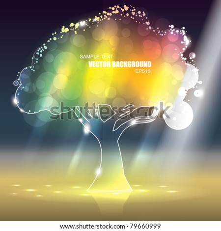 Vector Colorful Glass Tree - stock vector