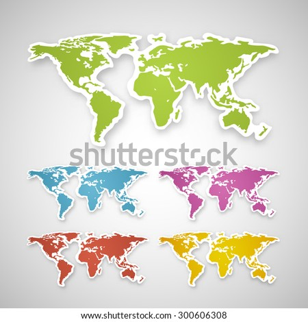 Vector colorful globe map world sticker stock vector 300606308 vector colorful globe map of the world sticker gumiabroncs Images