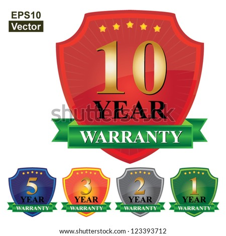 Vector : Colorful Glossy Style Customer Service Warranty 1 - 10 Years Badge Isolated on White Background - stock vector