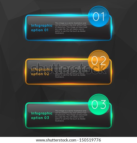 Vector colorful glowing glass infographics options banners collection set with polygonal background. - stock vector