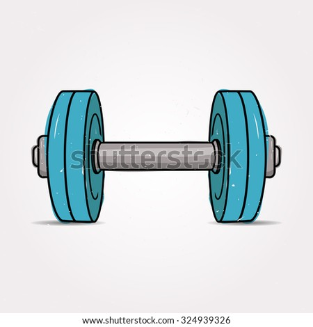 Vector colorful grunge illustration of dumbbell. Fitness icon.