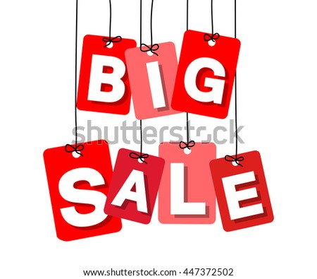 Vector colorful hanging cardboard. Tags - big sale