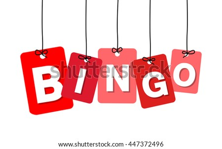 Vector colorful hanging cardboard. Tags - bingo