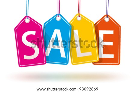 Vector Colorful Hanging Sales Tags.  Isolated with optional transparent ground shadows. - stock vector
