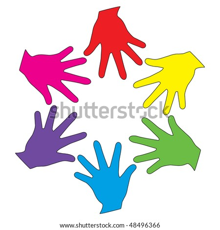 Vector colorful heands - stock vector