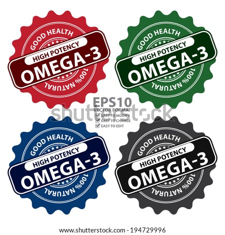 Vector : Colorful High Potency Omega-3, Good Health, 100 Percent Natural Icon, Label, Sticker, Stamp or Badge Isolated on White Background  - stock vector