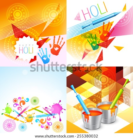 vector colorful holi background collection with pichkari in the bucket and colorful hands - stock vector