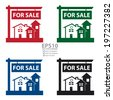 Vector : Colorful Home, Apartment, Building, Condominium or Real Estate For Sale Sign Icon, Sticker or Label Isolated on White Background  - stock vector