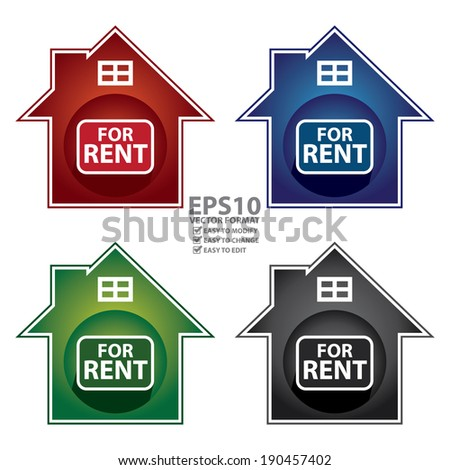 Vector : Colorful Home For Rent Sign, Icon, Sticker or Label Isolated on White Background - stock vector