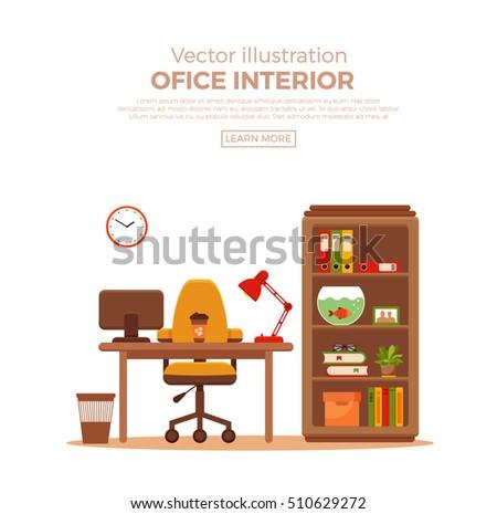 Vector Colorful Home Office Interior Design Elements Books Aquarium Laptop Indoor Plants