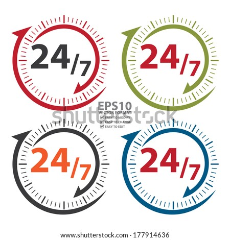 Vector : Colorful 24/7 Icon, Badge, Label or Sticker for Customer Service, Support, Call Center or CRM Concept Isolated on White Background  - stock vector