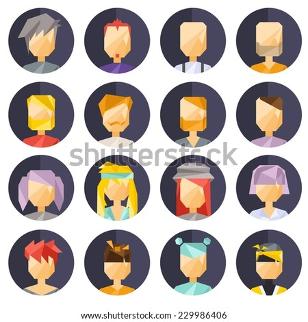 Vector colorful icon flat geometric set of avatar people  - stock vector