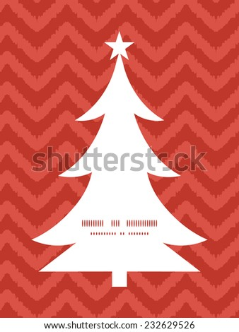 Vector colorful ikat chevron Christmas tree silhouette pattern frame card template - stock vector