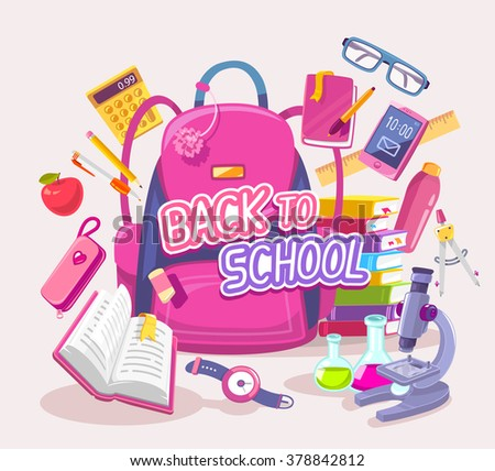 Vector colorful illustration of big pink backpack with many student items on gray background with text. Art design for web, site, advertising, banner, poster, flyer, brochure, board, paper print. - stock vector