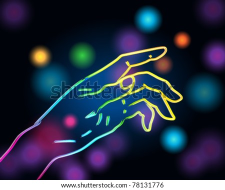 Vector colorful illustration of hand silhouette made of light - stock vector
