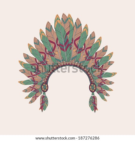 Vector colorful illustration of native american indian chief headdress with feathers - stock vector