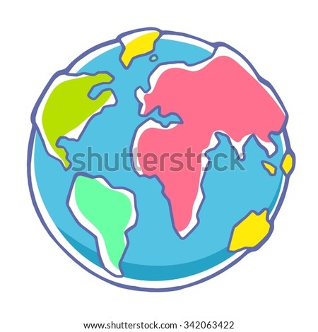 Vector colorful illustration of planet Earth on white background. Hand draw line art design for web, site, advertising, banner, poster, board, brochure and print. - stock vector