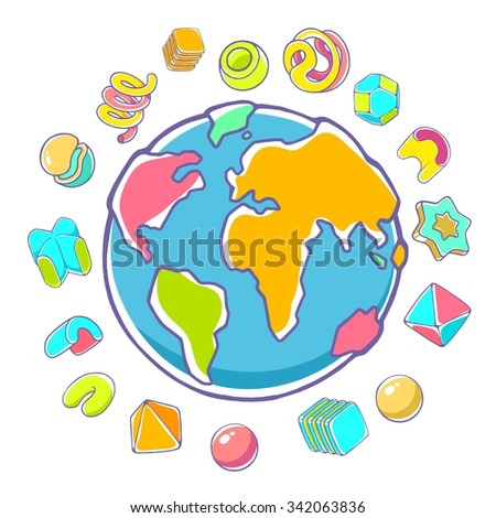 Vector colorful illustration of planet Earth on white background with abstract elements. Hand draw line art design for web, site, advertising, banner, poster, board, brochure and print. - stock vector
