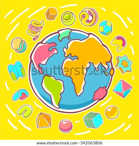 Vector colorful illustration of planet Earth on yellow background with abstract elements. Hand draw line art design for web, site, advertising, banner, poster, board, brochure and print. - stock vector