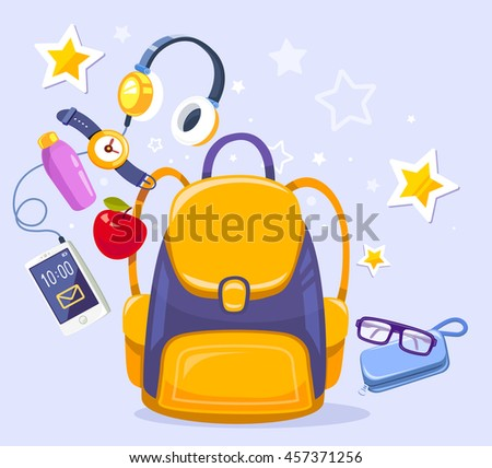 Vector colorful illustration of yellow backpack, phone with headphones, watch, apple, case on blue background. Bright design for web, site, advertising, banner, poster, brochure, board - stock vector