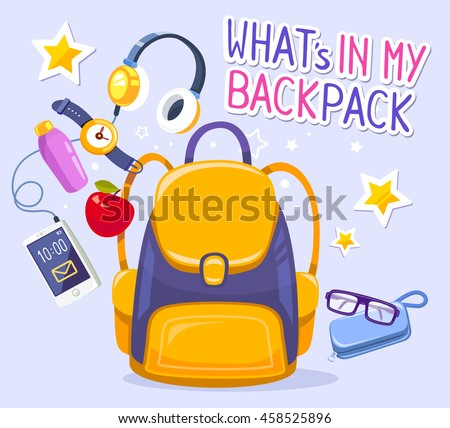 Vector colorful illustration of yellow backpack, phone with headphones, watch, apple, case on blue background with text. Bright design for web, site, advertising, banner, poster, brochure, board - stock vector