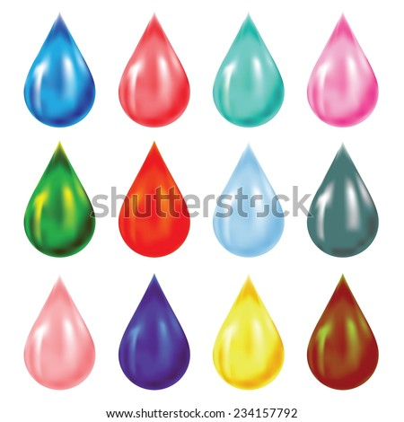 Vector Colorful Illustration with Set of Drops on White Background