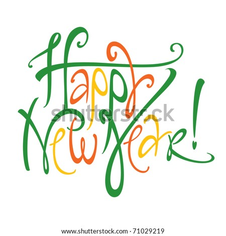 Vector colorful inscription Happy New Year holiday - stock vector