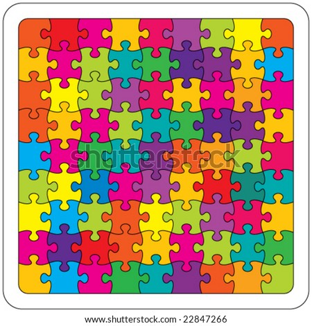 Vector Colorful Jigsaw Puzzle
