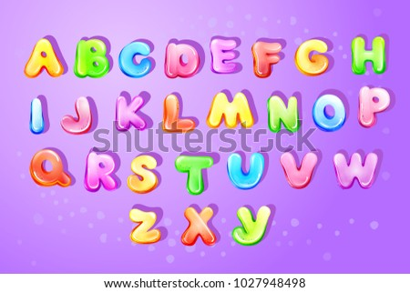 Vector Colorful Kids English Alphabet Children Font Template Preschool Kindergarten Game Typography Latin Text