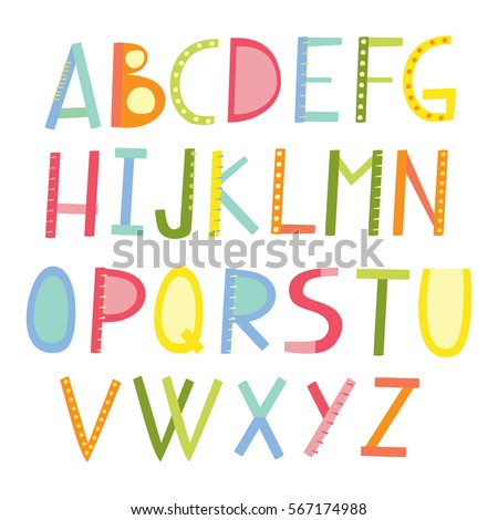 Vector Colorful Letters Cute ABC Childrens Alphabet