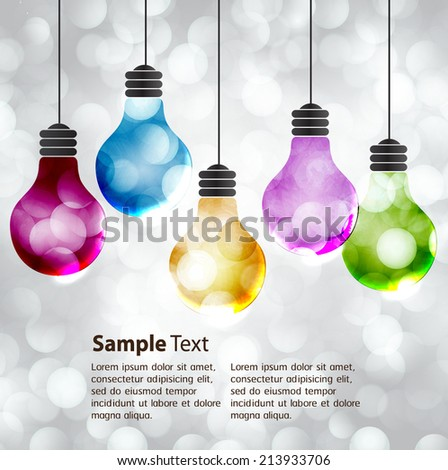 Vector colorful light bulb icons with concept of idea. Festive Christmas background. Elegant abstract background with bokeh defocused lights and stars  - stock vector