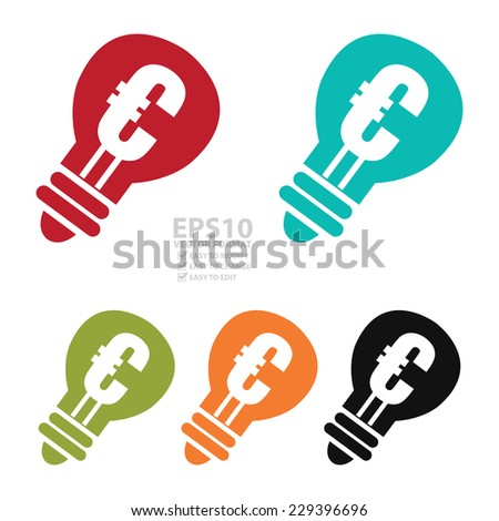 Vector : Colorful Light Bulb With Euro Sign Icon or Symbol Isolated on White Background  - stock vector