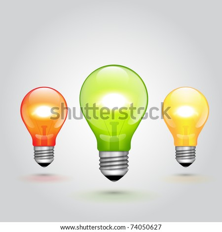 Vector Colorful Light Bulbs set - stock vector
