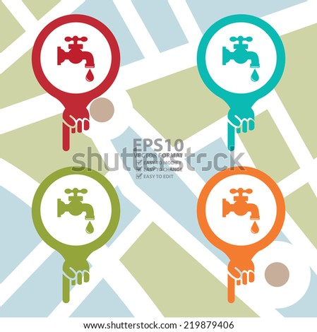 Vector : Colorful Map Pointer Icon With Water Supply or Tap Water Sign in POI Map Background - stock vector