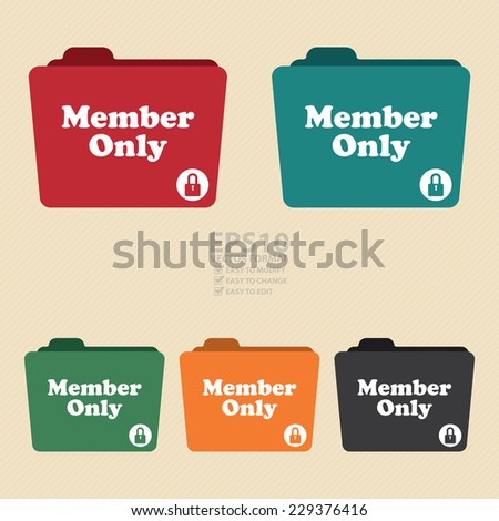Vector : Colorful Member Only Folder With Lock Sign Icon - stock vector