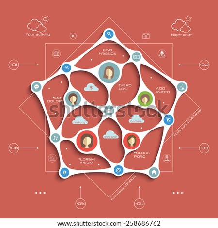 Vector colorful  metaball flat style illustration with infographics, pentagon form of social media relationships,  blueprint on a red background, template for design and presentation - stock vector